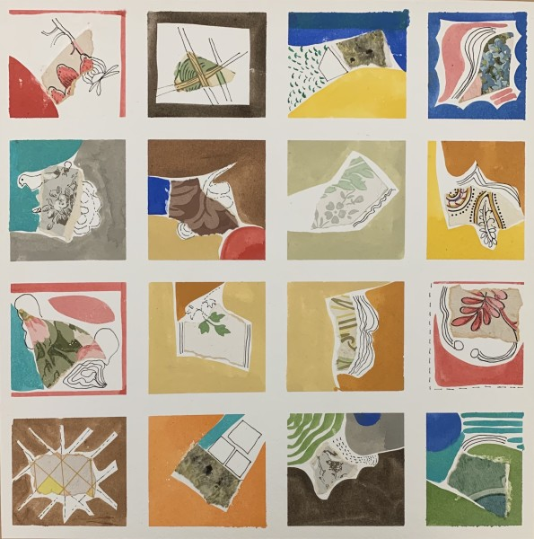 Chloe Fremantle Fragments gouache & collage Artwork: 35 x 35cm