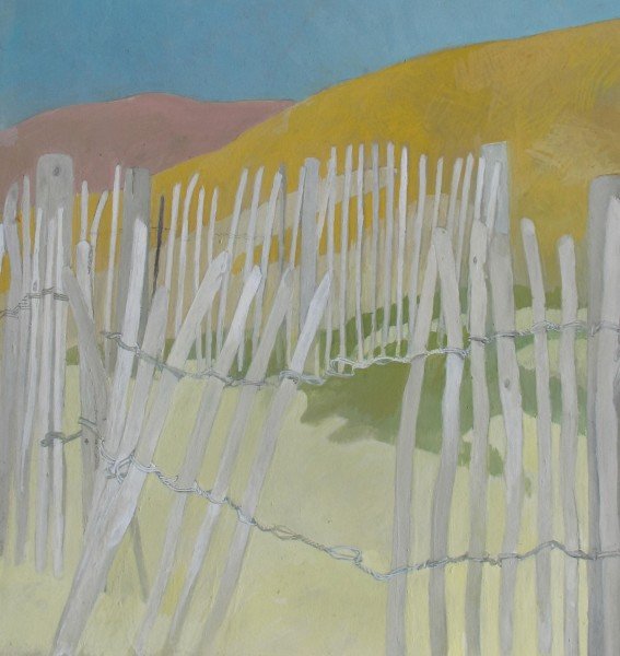 Wendy Jacob Coastal Fences gouache Frame: 45 x 45 cm Artwork: 26 x 24 cm