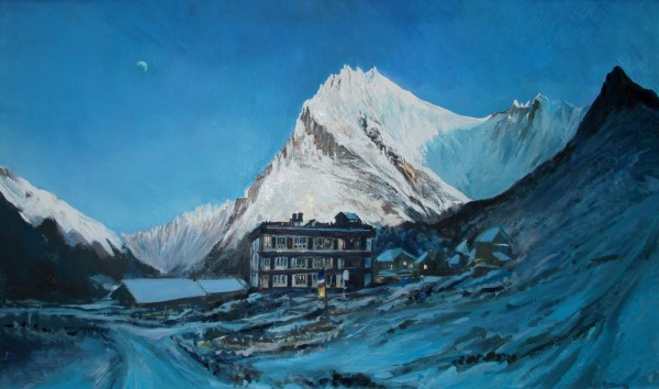 Neil Pittaway Snowy Dusk in the Langtang at Kyranjin Gumba, 3780m, Nepal acrylic on board Frame: 66 x 107 cm Artwork: 59 x 100 cm