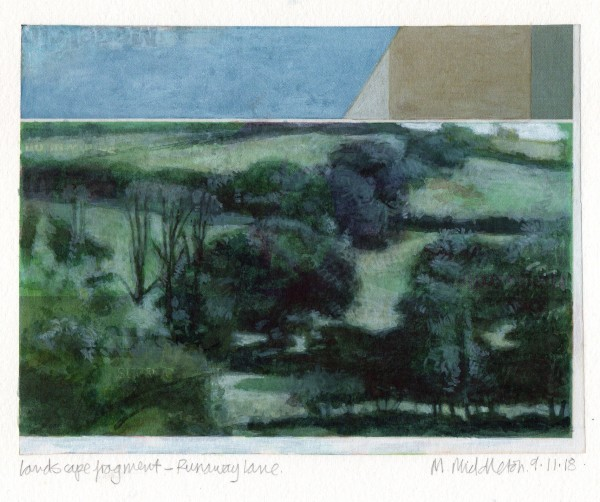 Mike Middleton Landscape Fragment, Runaway Lane watercolour & acrylic 32x30cm