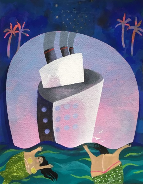 Gertie Young Cruising with Mermaids watercolour and gouache collage 32x26x6cm