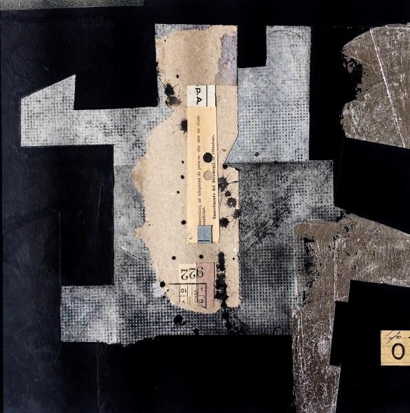 Stuart Robertson Bauhaus 3 watercolour collage & silver leaf Frame: 43 x 31 cm Artwork: 29 x 17 cm
