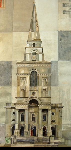 Stuart Robertson Christ Church Spitalfields watercolour, gouache & collage 70x47cm