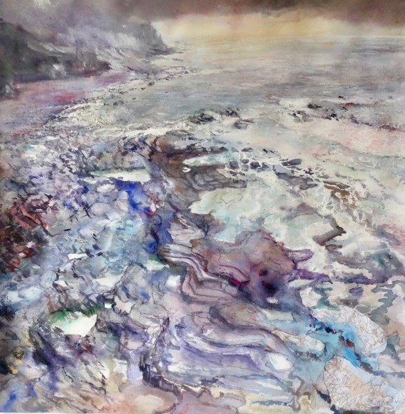 Sophie Knight Rhythms in the Rock Strata, Crackington Haven, Cornwall mixed media collage Frame: 130 x 125 cm Artwork: 95 x 90 cm