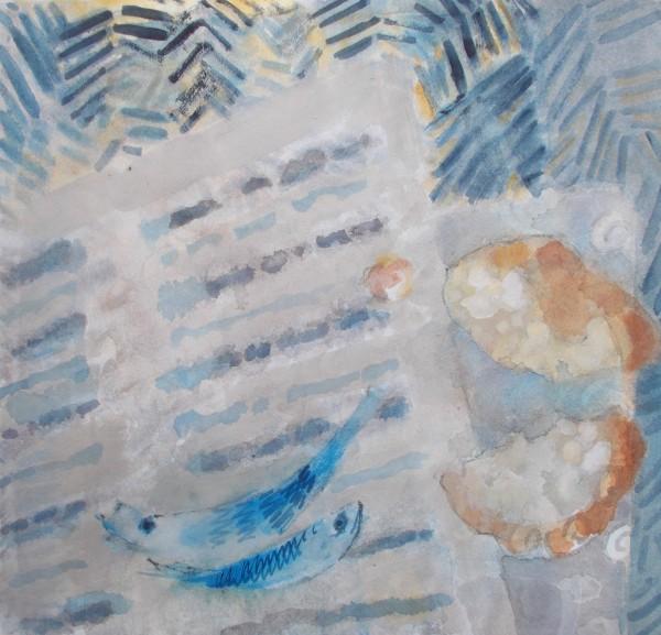 Anne Marlow A Parable gouache 46x45cm