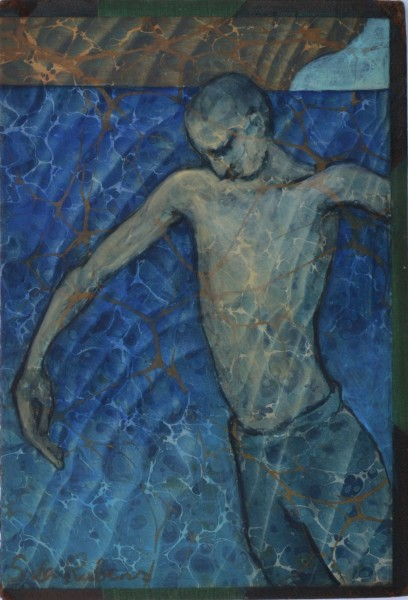 Sula Rubens Boy at Water's Edge acrylic on antique marbled book cover Frame: 42.5 x 34 cm Artwork: 24 x 17 cm