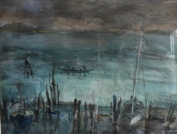Jane Corsellis The Lagoon, Venice watercolour Frame: 44 x 51 cm Artwork: 25 x 35 cm