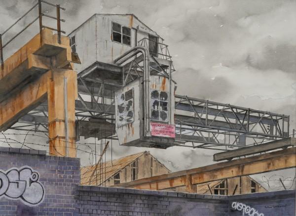Arthur Lockwood Derelict Crane, Wolverhampton watercolour