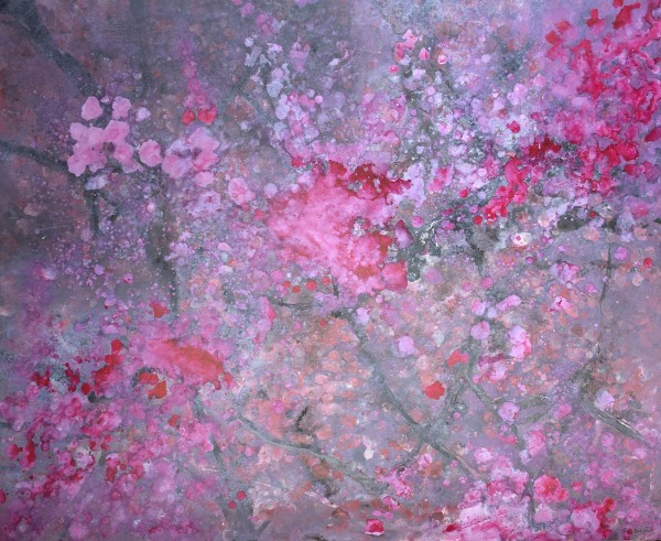 Robin Richmond Cherry Blossom, Kyoto, Japan watercolour, acrylic & japanese ink Frame: 80.5 x 100.5 cm Artwork: 62 x 82 cm