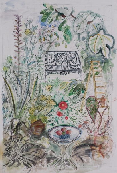 Richard Bawden Cat Seat in the Jungle watercolour Frame: 64 x 48 cm Artwork: 43 x 32 cm