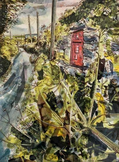 Mark Raggett Post Box at Rhosson mixed media Artwork: 27 x 37cm