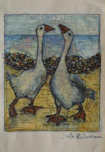 Sula Rubens Two Geese - Study watercolour on map paper Artwork: 15.5 x 23.5cm