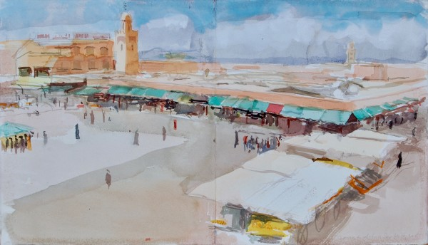 Simon Pierse Jemaa el-Fna Square, Marrakech watercolour Artwork: 57 x 32cm