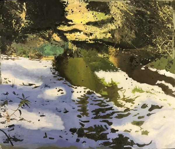 Iain Nicholls Drax Forest Dorset - Winter Study 1 acrylic 34x40cm