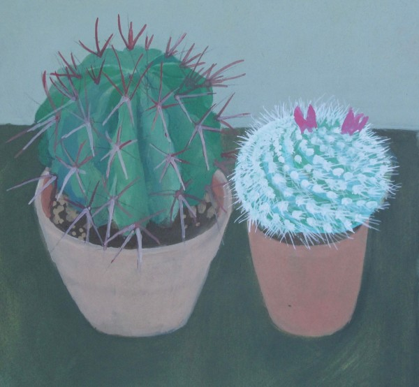 Wendy Jacob Mr Bowles Cacti gouache 29x29cm