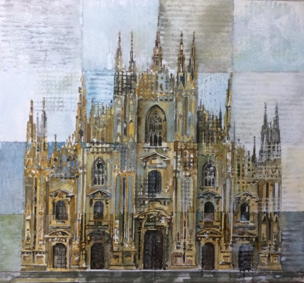 Stuart Robertson Duomo di Milano II watercolour Artwork: 21 x 21 cm Frame: 42 x 41 cm