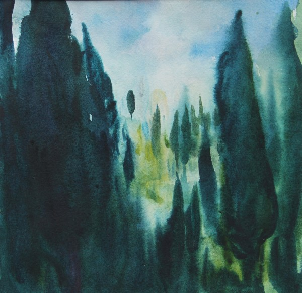 Neil Pittaway Tuscan Trees watercolour 53x57cm