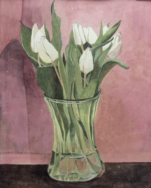 Suzy Fasht White Tulips watercolour Frame: 32 x 26 cm Artwork: 44 x 38 cm