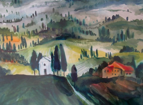Neil Pittaway Vitaleta Chapel, Tuscany watercolour Artwork: 33 x 30 cm Frame: 44 x 54 cm