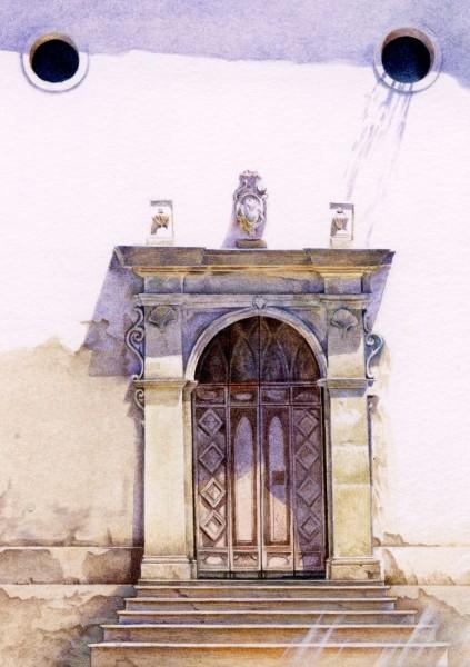 Liz Butler Chiesa Madre, Palma di Montechiaro watercolour 37x30cm