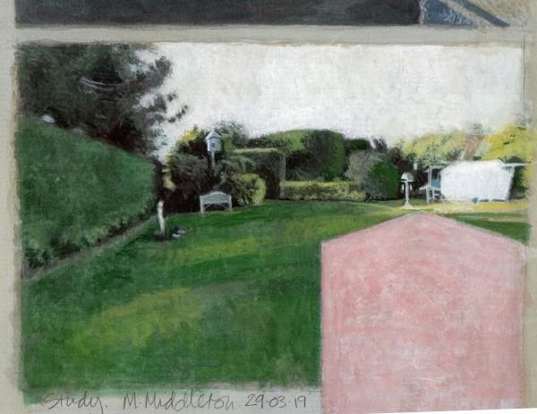 Mike Middleton Study watercolour Frame: 31.5 x 34.5 cm Artwork: 14 x 17 cm