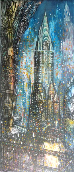 Neil Pittaway Chrysler Night Sky watercolour, acrylic with pen & ink 88x46cm