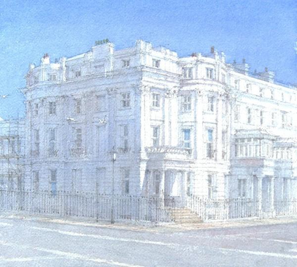 Dennis Roxby Bott Chichester Terrace, Brighton watercolour 46x44cm