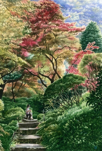 Liz Butler Garden at the Fujiya watercolour