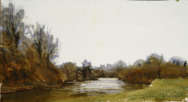 John Newberry Windsor Castle from Eton watercolour Frame: 34 x 44 cm Artwork: 10 x 19 cm