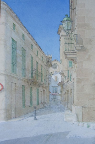 Dennis Roxby Bott Street in Polenca, Majorca watercolour Frame: 71 x 54 cm Artwork: 48 x 31 cm