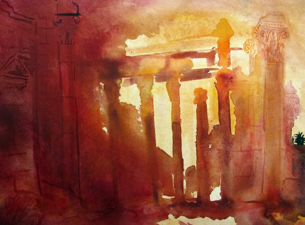 Neil Pittaway Amongst the Ruins of Palmyras, Syria watercolour 62x80cm