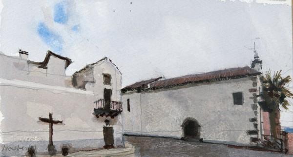 John Newberry Virgen de la Luz, Santa Cruze watercolour Artwork: 11 x 20 cm Frame: 33 x 43 cm