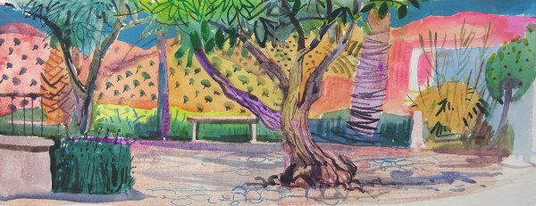 Jenny Wheatley Olive Groves from the Park watercolour 49x85cm