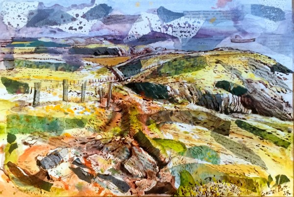 Mark Raggett Coastal Path mixed media 45x60cm