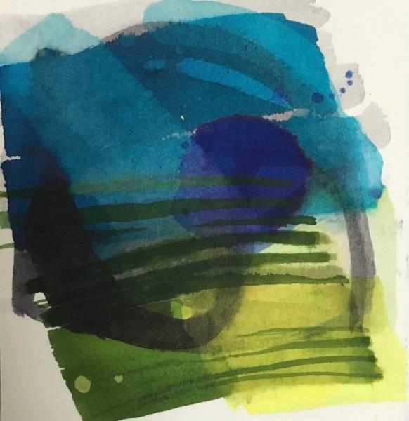Jane Lewis Twilight ink on paper Frame: 21 x 21 cm Artwork: 12 x 11 cm
