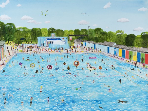 Emma Haworth The Lido in the Summer watercolour Frame: 72 x 90 cm