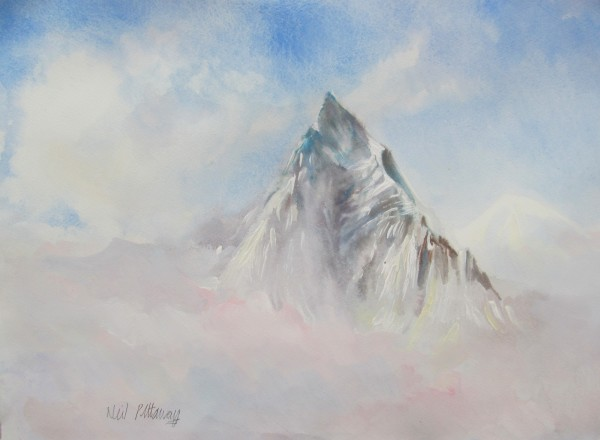 Neil Pittaway Machapuchare, Above the Clouds watercolour & acrylic 52x68cm