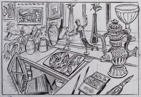 Richard Bawden My Studio pen & ink 38x45cm
