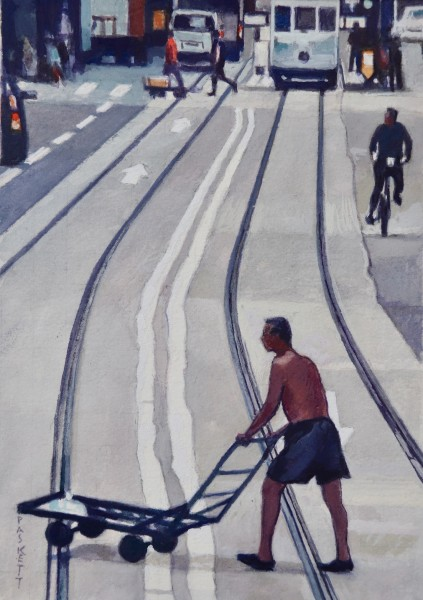 David Paskett Across The Tracks, Hong Kong watercolour Artwork: 24 x 16cm