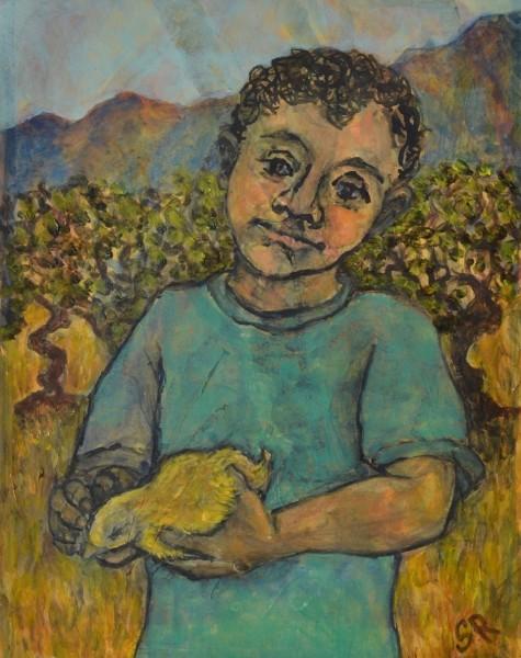 Sula Rubens Young Boy Holding a Small Bird watercolour