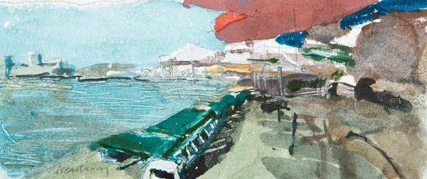 John Newberry Beach with Red Umbrella Bodrum, Turkey watercolour Frame: 30 x 41 cm Artwork: 8 x 18 cm