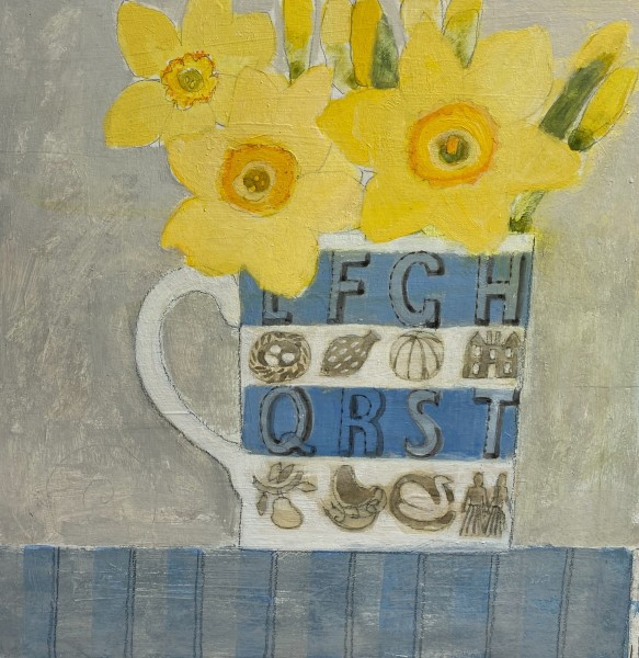 Jill Leman Daffodils in Eric's Mug watercolour 21 x 21cm