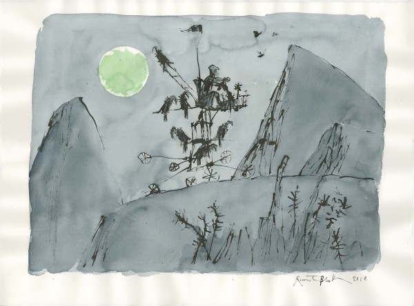 Quentin Blake The Moonlight Traveller watercolour & indian ink 70 x 90cm