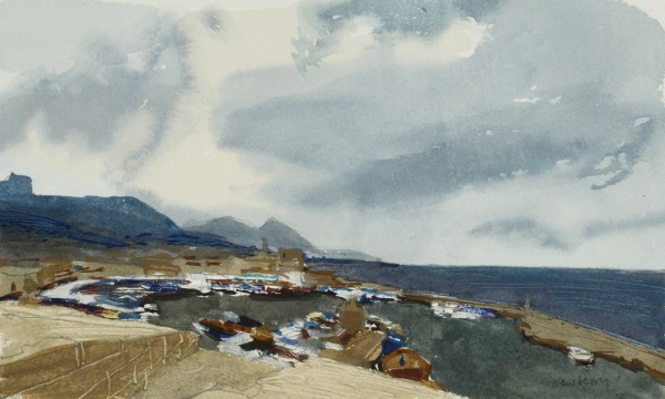 John Newberry Kyrenia Harbour North Cyprus watercolour Frame: 34 x 44 cm Artwork: 12 x 19 cm