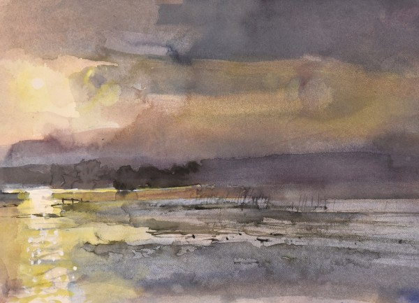 Richard Pikesley Frome in Spate, Evening watercolour Artwork: 27 x 20cm