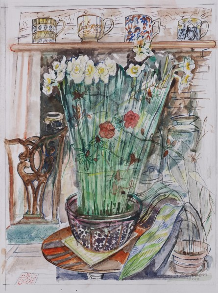 Richard Bawden Mugs on the Mantlepiece watercolour Frame: 64 x 49 cm Artwork: 42 x 33 cm