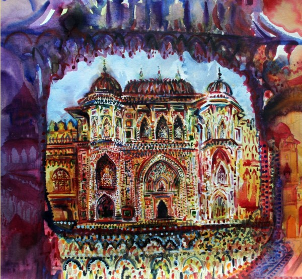 Neil Pittaway Ganesh Pol Gateway, Amber Fort, Jaipur, India watercolour Frame: 75 x 74 cm Artwork: 57 x 55 cm