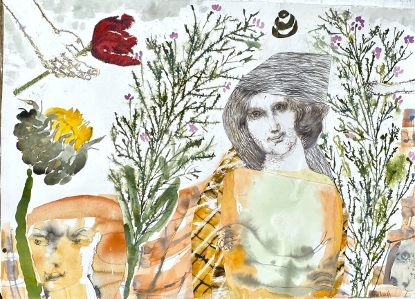 Anne Lynch Being Strong in Unsettling Times watercolour & collage Artwork: 105 x 75cm