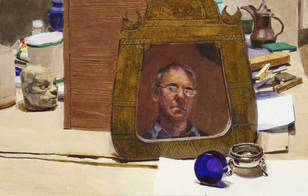 John Newberry Studio with Self Portrait watercolour 56x70cm