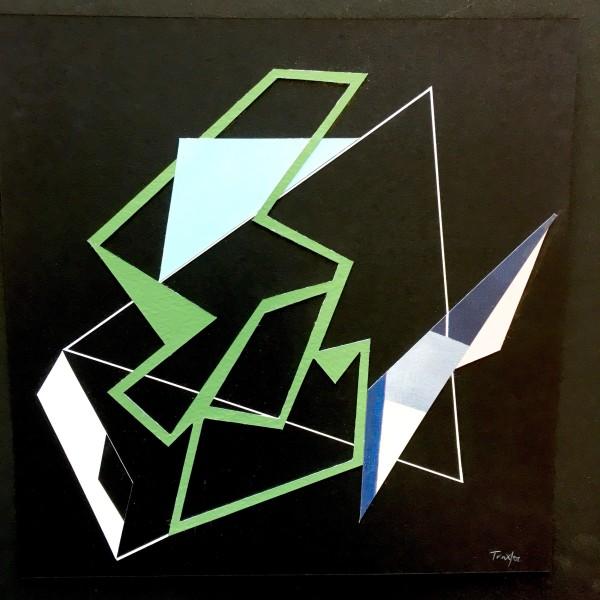 Lisa Traxler Safety Net 8 acrylic on paper Frame: 36 x 36 cm Artwork: 24 x 24 cm